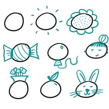 tekenoefening zakelijk tekenen - oefenen met het visuele alfabet